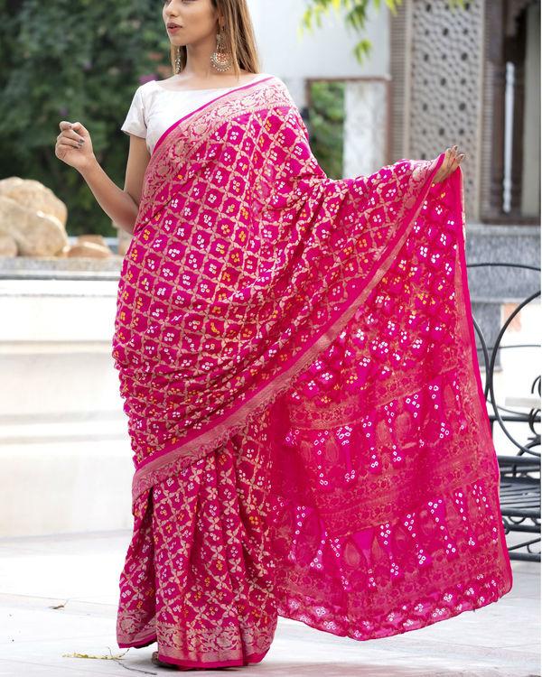 Magenta art silk sari with silver blouse 1
