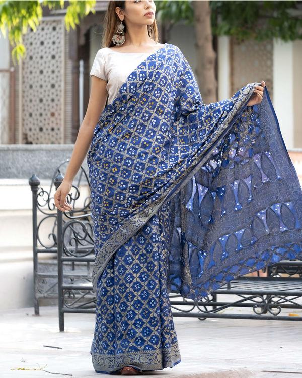 Navy blue art silk sari with silver blouse 1