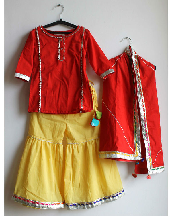 Red gota sharara set 2
