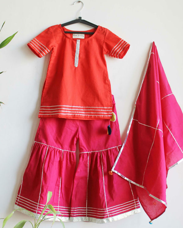 Red kurta with pink sharara set 1