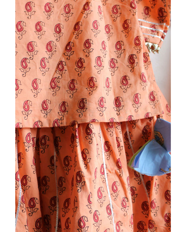 Orange cotton lehenga set 1