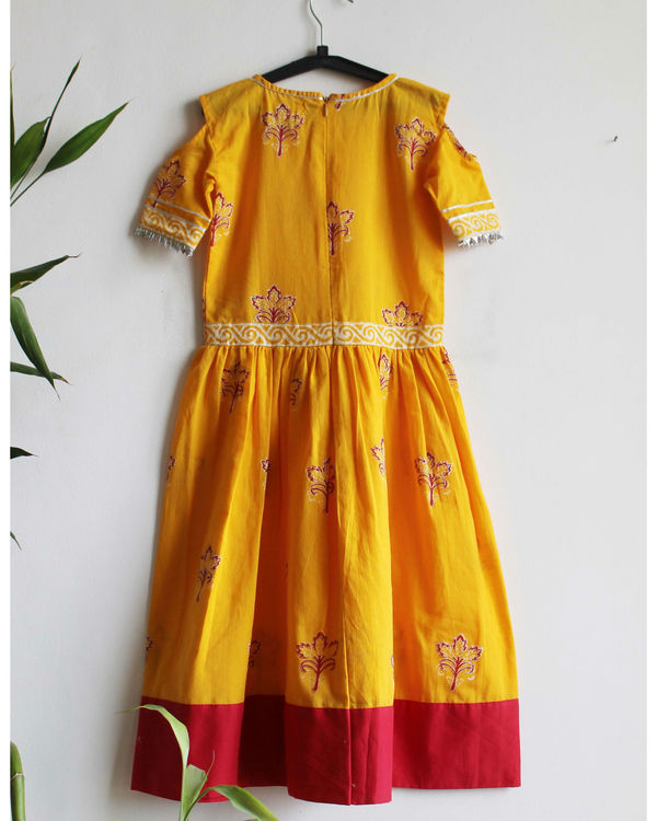 Mustard red border dress 1