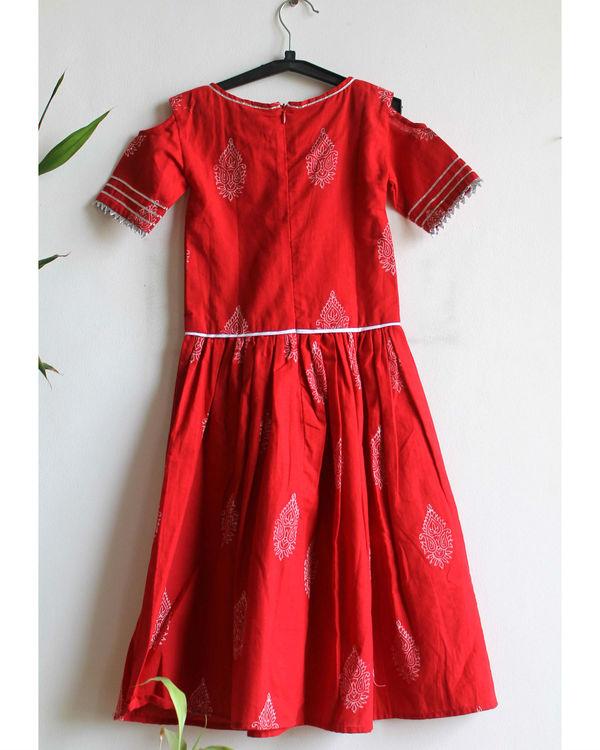 Red printed gota dress 1