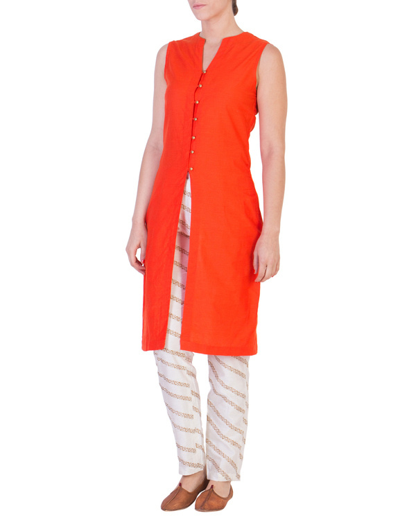 Orange solid straight tunic with tapered printed pants in off white 1