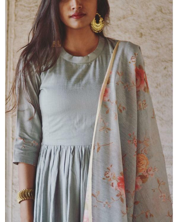 Pastel Blue Garden Print Dress 1