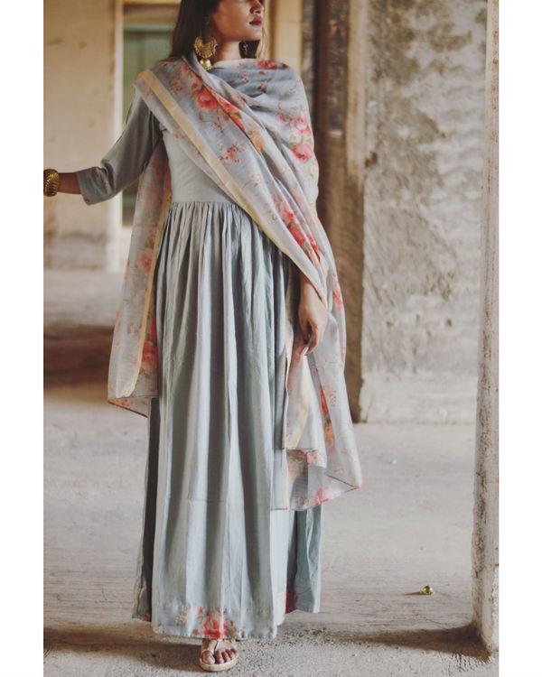 Pastel Blue Garden Print Dress 2