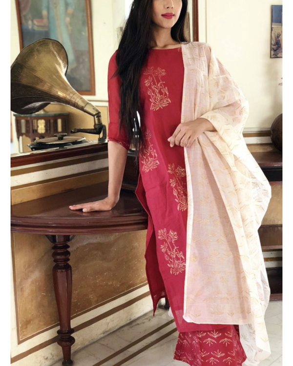 Wine and soft pink kurta set with dupatta 1