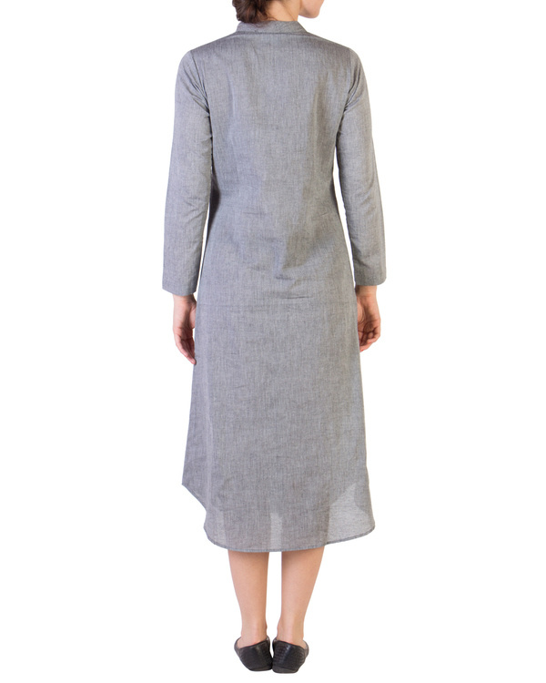 Grey tunic with assymetrical buttoning 3