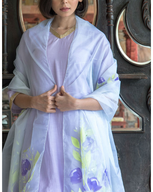 Lilac kurta set with hand painted organza dupatta 1