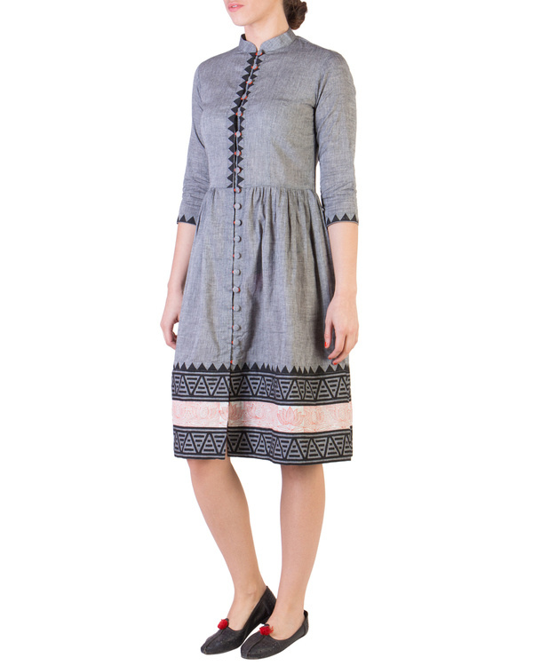 Grey mangalgiri dress with printed borders 1