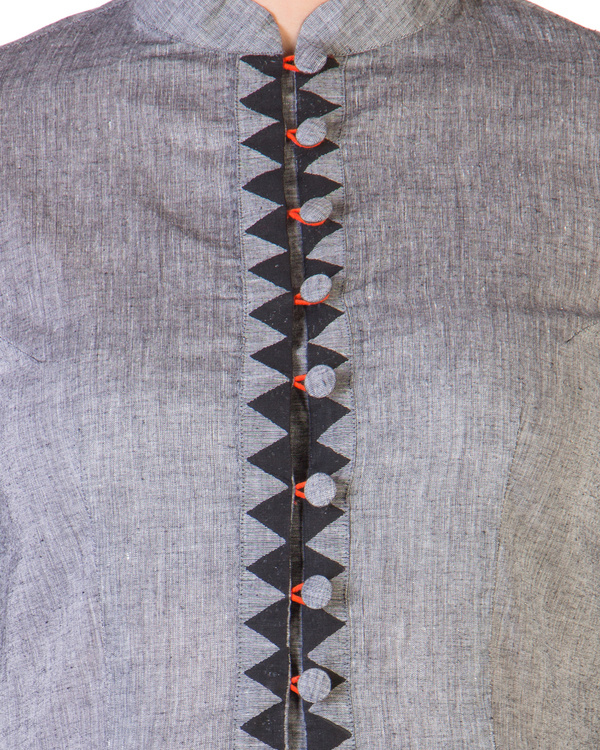 Grey mangalgiri dress with printed borders 3