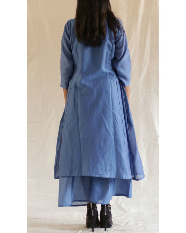 Blue bead collared tunic with pants 1