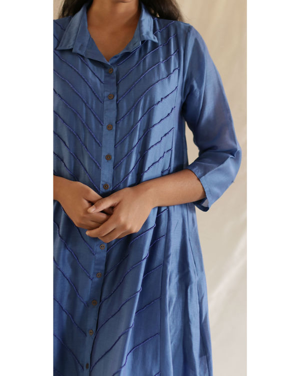 Blue bead collared tunic with pants 2