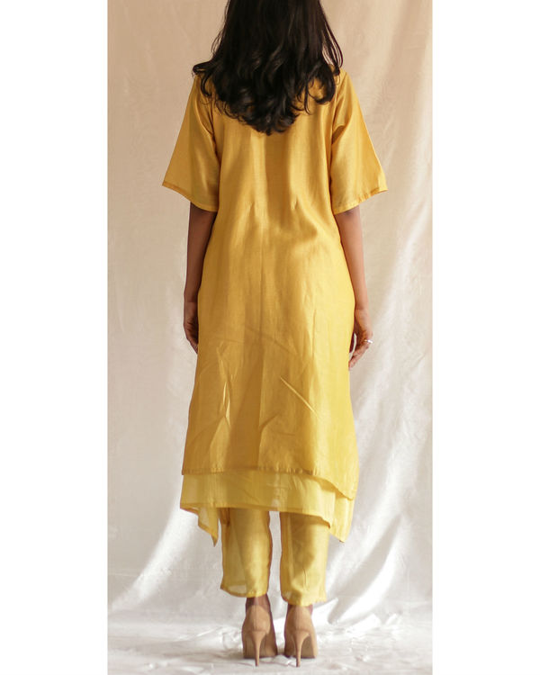 Yellow hand embroidered kurta with pants 1