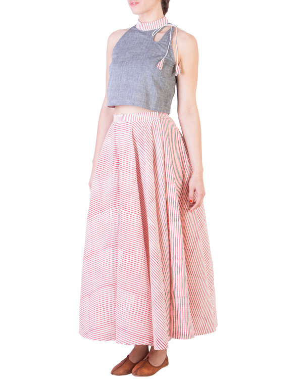 Grey mangalgiri crop top and muslin skirt with red stripes 1