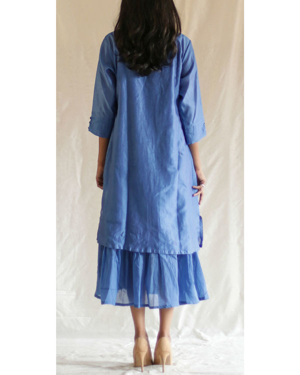 Blue pond kurta with gathered inner 1
