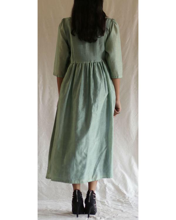 Mint green bead dress with blue slip 2