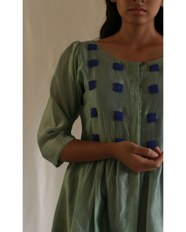Mint green bead dress with blue slip 1