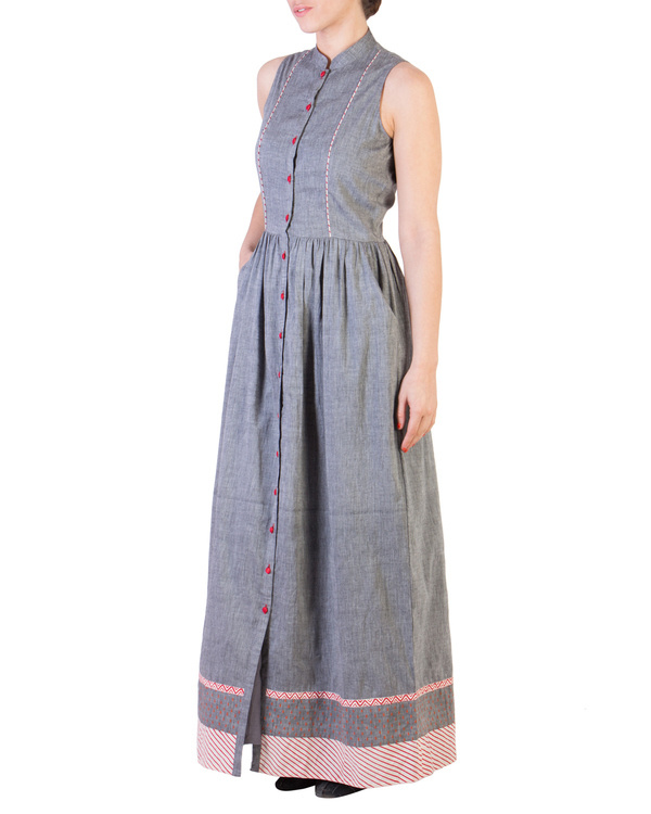 Grey mangalgiri maxi with red detailing 1