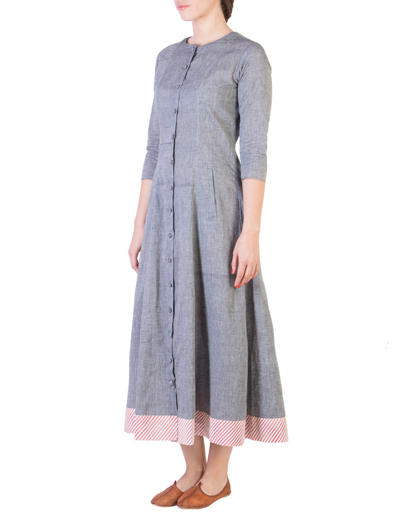 Grey mangalgiri pannelled a-line tunic 1