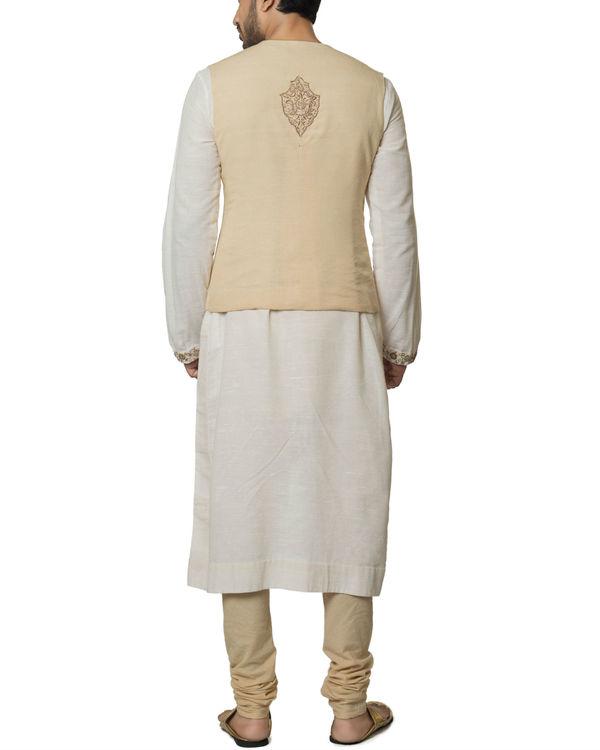 Beige waistcoat kurta set 1