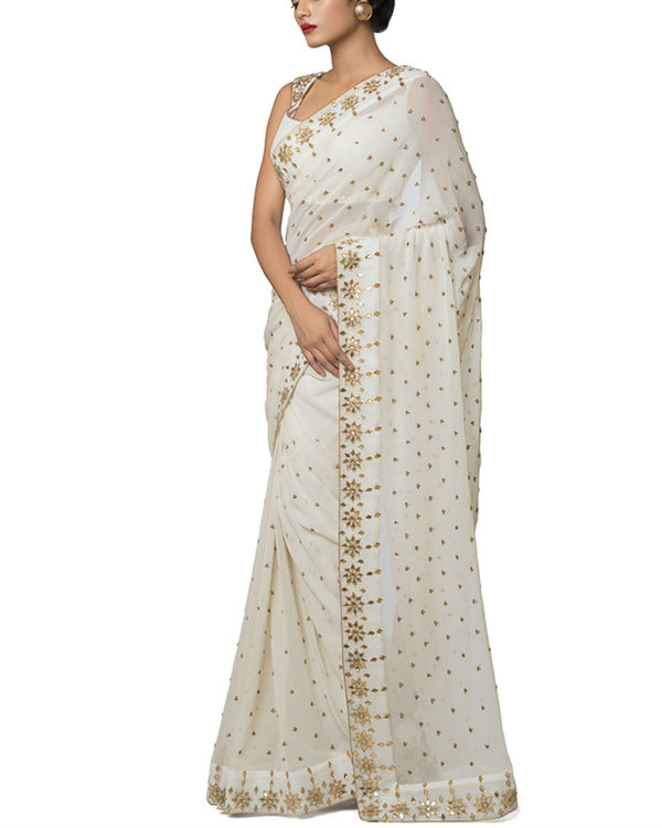 Ivory gota embroidered sari 2