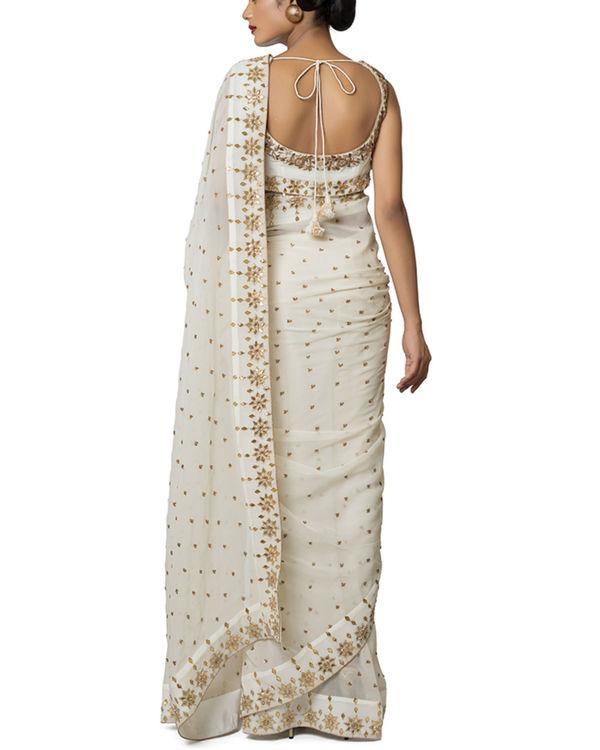 Ivory gota embroidered sari 1