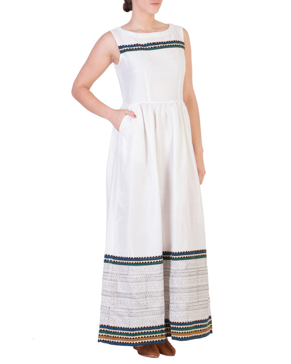 White maxi with printed detailing 1