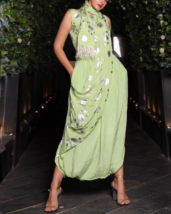 Green dhoti sari 2