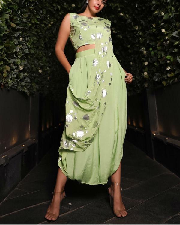 Green dhoti sari 1