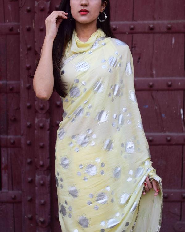 Yellow half and half sari 2