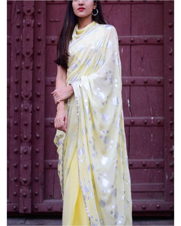 Yellow half and half sari 1