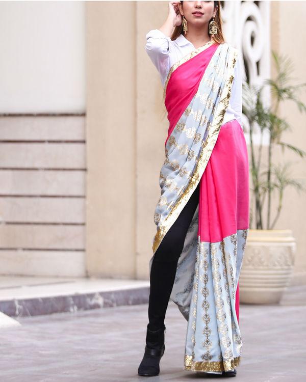 Grey and pink sari 1
