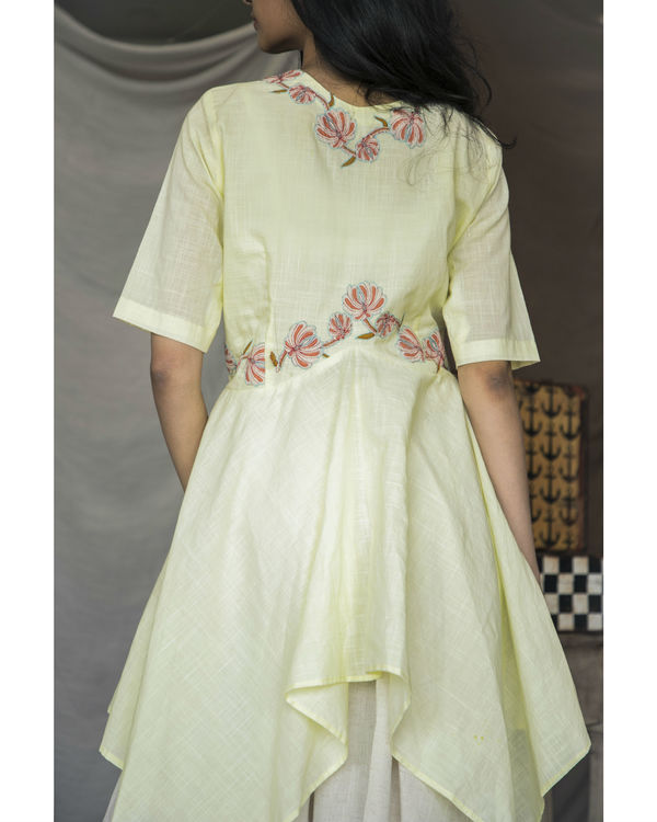 Pastel yellow handkerchief kurta with dhoti pants 1