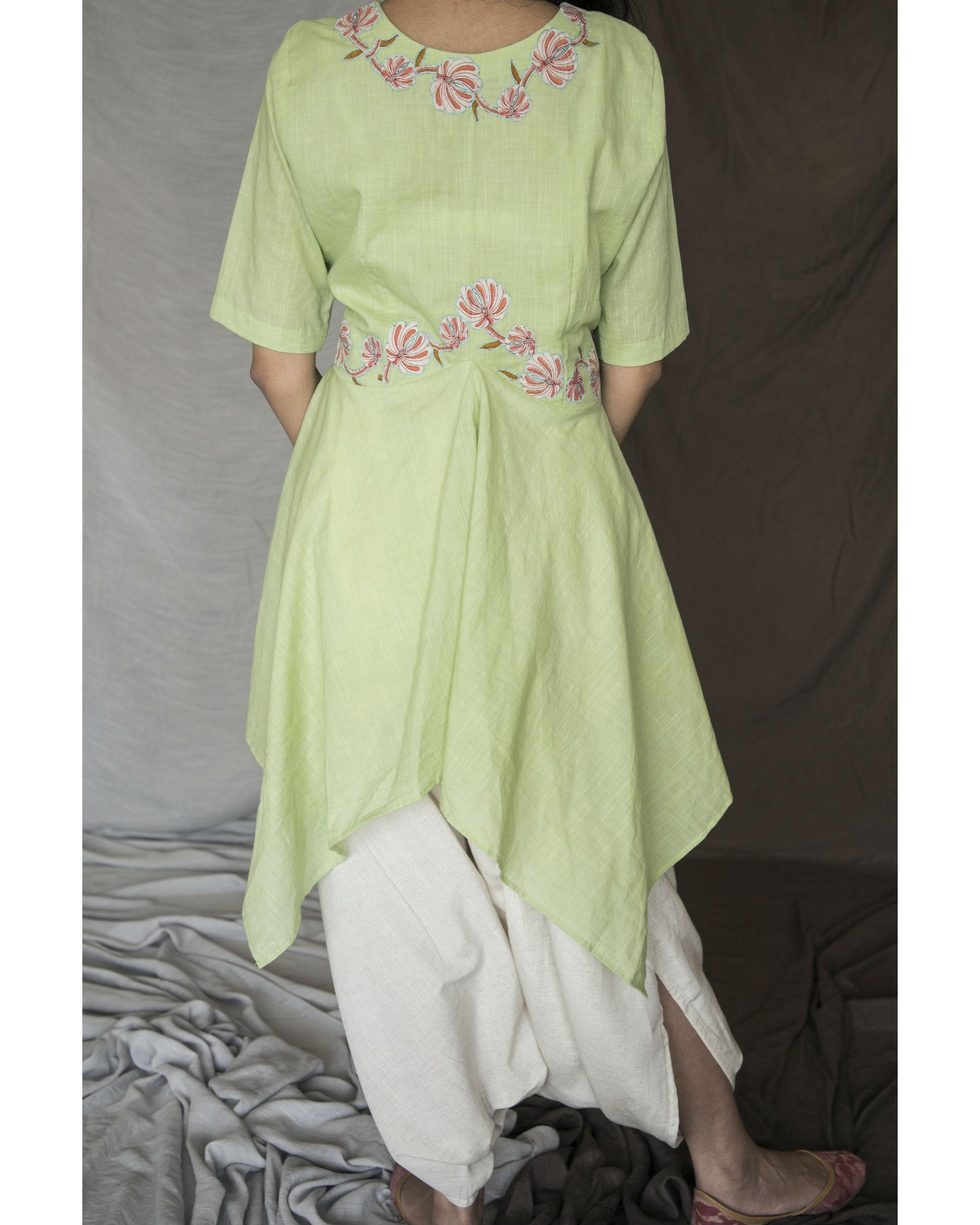 aebafaf03c6 Parrot green handkerchief kurta with dhoti pants by Bari