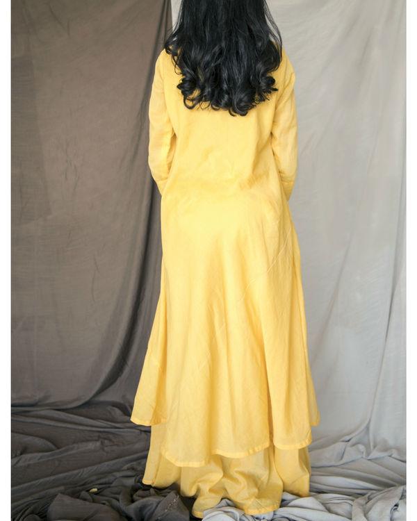 Yellow double layered kurta with pants 1