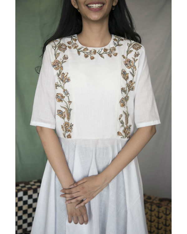 White high low cotton kurta 2