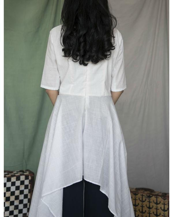 White high low cotton kurta 1