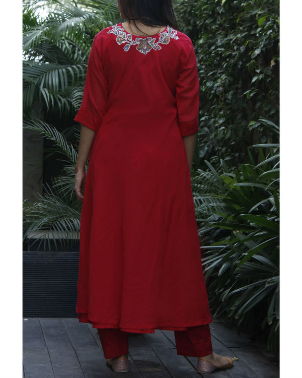 Red double layered kurta with pants 1