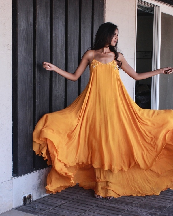 Sunset yellow strappy maxi dress 1