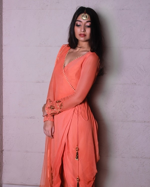 Peach overlap draped kurta set 2