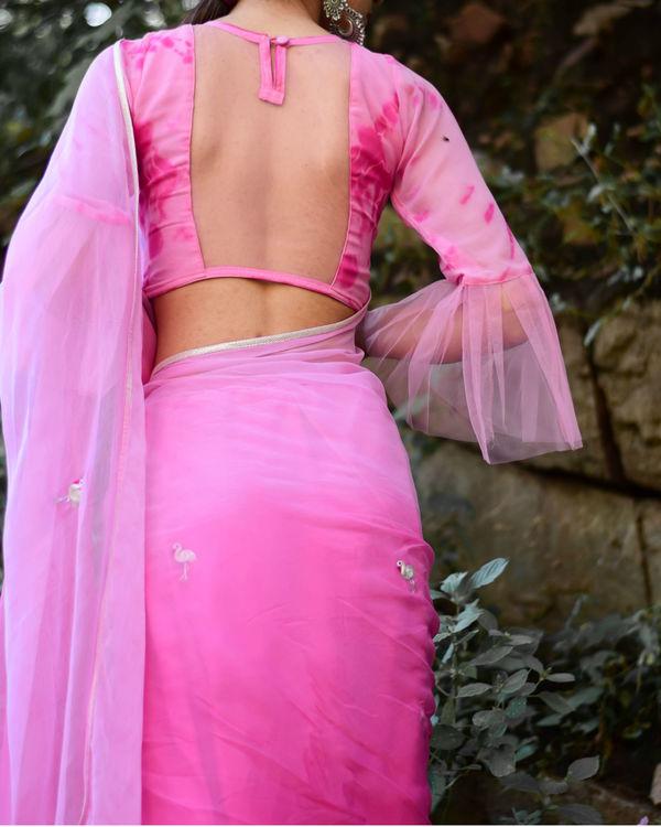 Pink flamingo motif sari 2