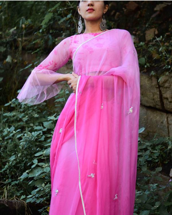 Pink flamingo motif sari 1