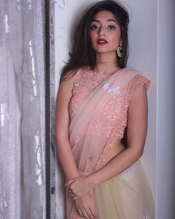 Peach blouse with shaded sari 1