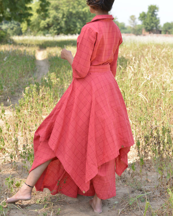 Peach trench dress 1