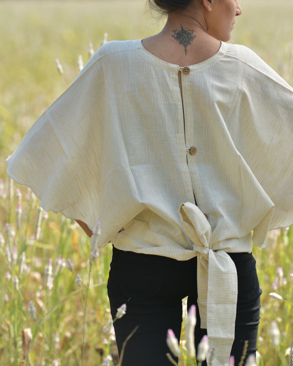 Beige back bow top 1