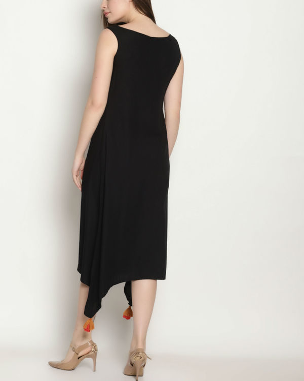 Black embroidered long dress 2