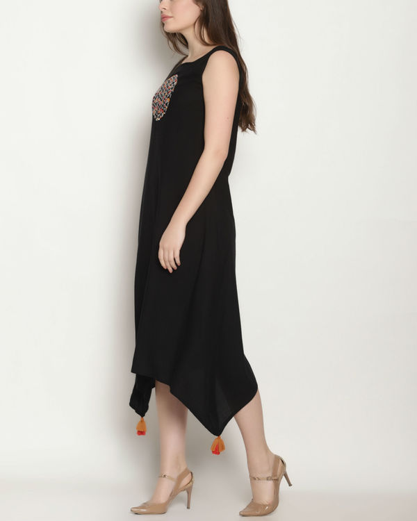 Black embroidered long dress 1