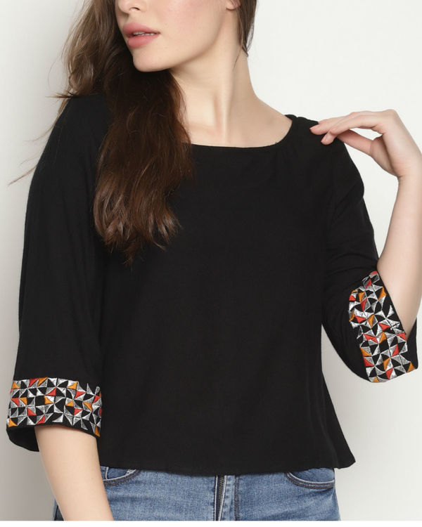 Black embroidered sleeve top 3
