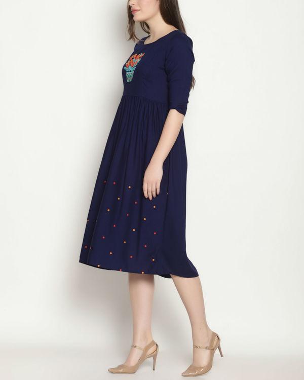 Blue embroidered polka dress 3